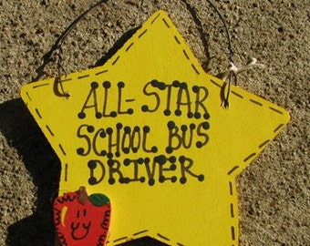 Teacher Gifts Yellow Star w/Apple School Bus Driver