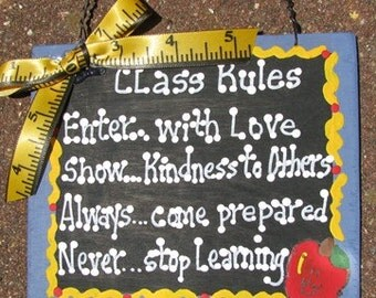 Teacher GIfts 5107 Class Rules Handmade & Painted