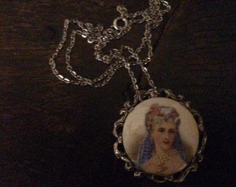 vintage Limoges portrait pendant and chain
