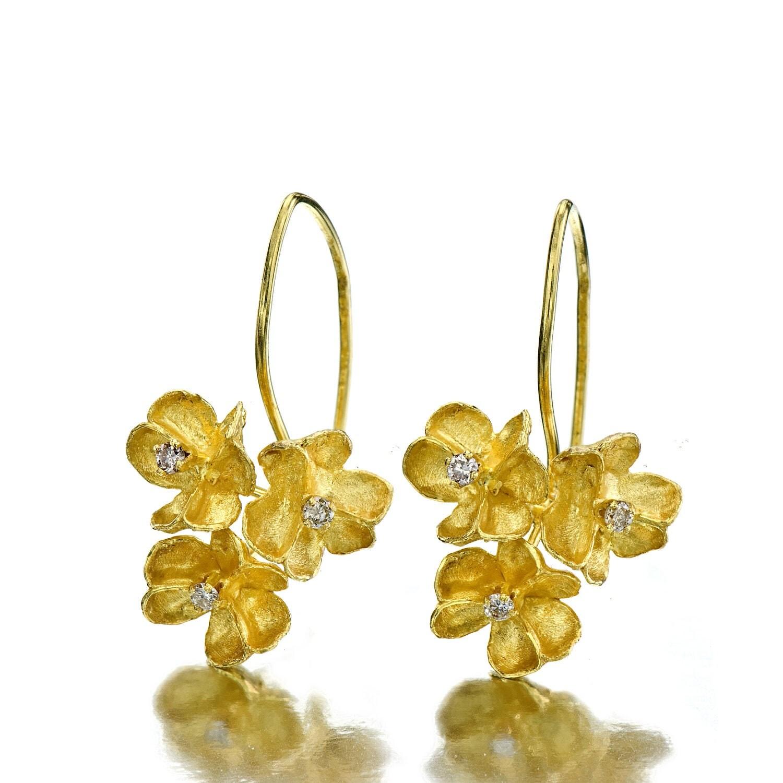 Bouquet Flower earrings Gold Earrings Solid gold earrings