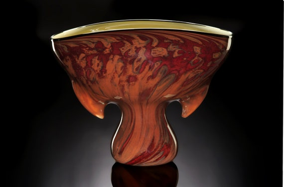 Sculptural hand blown art glass vessel Equis in Cinnamon