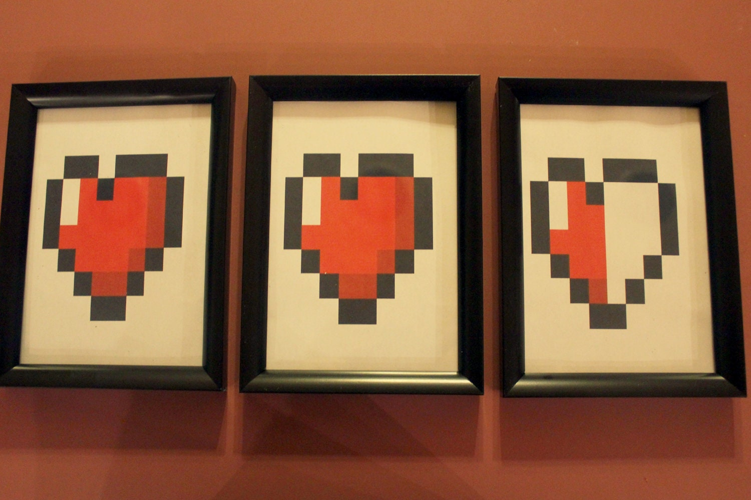 Zelda 8 bit heart triple wall decor for 8 bit decoration