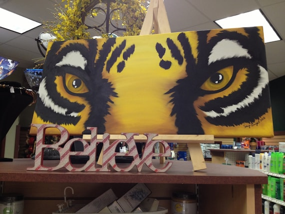 Lsu Tiger Eyes Painting On Canvas 14x30 Free Shipping
