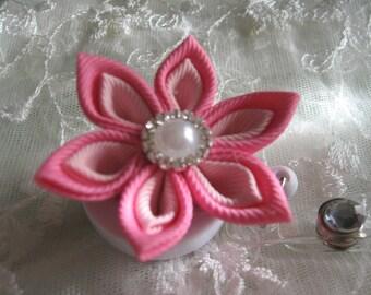 Retractable I.D. Badge Holder in Pink Kanzashi Ribbon Flower