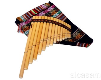 Professional Pan Flute 15 Pipes Ramos and Case (Peru)