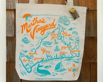 Martha's Vineyard Tote Bag Natural • Orange & Aqua