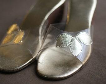 Womens VINTAGE - Prestine - MOD Gold Leaf Wood Heel Wedges Slip On - Shoes 8