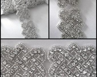 Belt sash Rhinestone Trim - bridal sash-garter-headpiece 1 yard