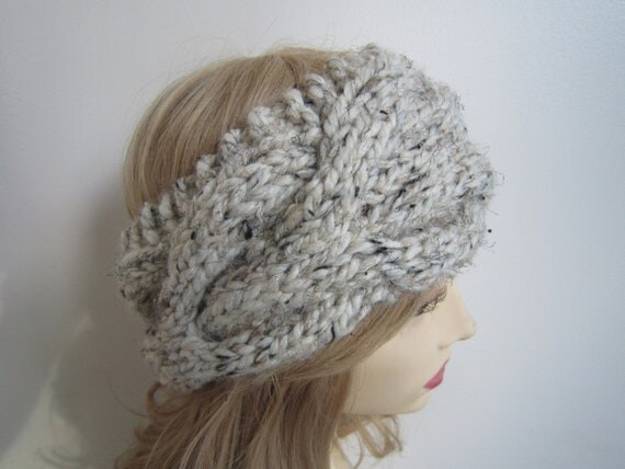 Hand knit chunky cabled headband headwrap by ...