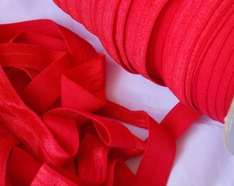 """10 yards RED Fold Over Elastic FOE 5/8"""" - Emi Jay Inspired Material - DIY Hair Ties & Headbands - No Pull Soft Stretchy Fabric"""