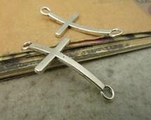 20pcs 21x43mm Antique Bronze Antique Silver Bent Cross Charms Pendants AC5350