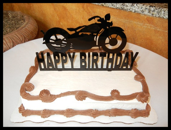 Harley Davidson MOTORCYCLE cake topper Happy Birthday Cake