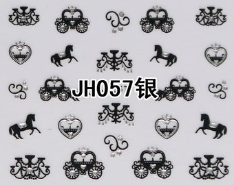 JH057 Black Nail Art Sticker Nail Art Sticker Sheet DIY Nail Art