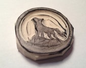 Wolf Howling at the Moon Stamp - Wolf Stamp - Hand Carved Stamp - Rubber Stamp
