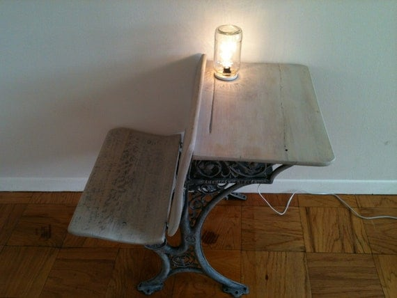 similar to vintage school desk nightstand with built in lamp on etsy. Black Bedroom Furniture Sets. Home Design Ideas