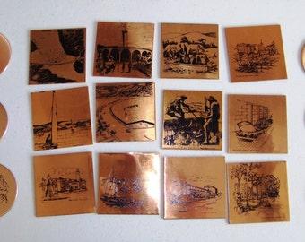 Eighteen Decorative Copper Coasters