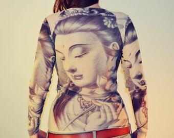 Tattoo tights etsy for Female yakuza tattoo