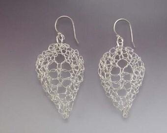 Knit Fine Silver Leaf Lace Earrings Medium Bright