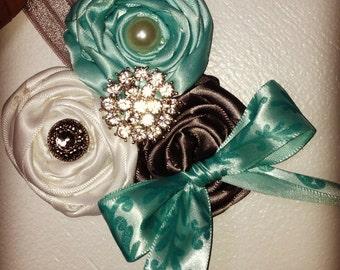 Sea green, grey and white rosettes headband