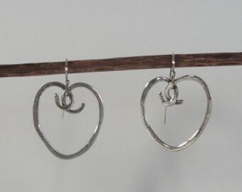 Artisan Sterling Silver Hammered Heart Earrings