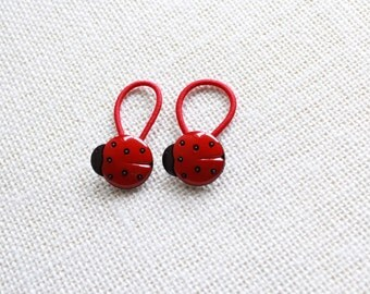 Red and Black Ladybug Ponytail Holders for Toddler / Girl