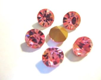 Vintage Glass Light Rose Pink colour round foiled rhinestone chaton approx 8mm -6 pieces