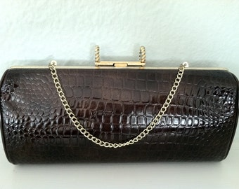 Mid Century Modern Convertible Brown Clutch Handbag Purse 1950s or 1960s Faux Leather