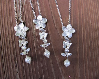 Silver Orchid and Pearl Bridesmaid Charm Necklace Set of 3 - Bridesmaids Gift - Wedding Jewelry, Bridal, Bridesmaid Necklace