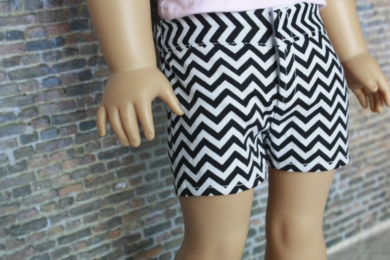 Trendy Black White Print SHORTS for American Girl made from popular Liberty Jane Pattern