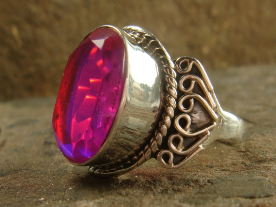 pink topaz gemstone 925 silver ring jewelry by