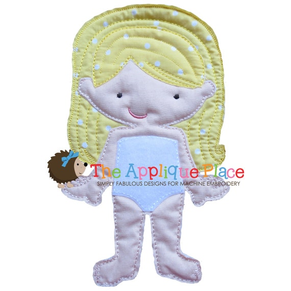 Dress Up Doll * Laura * Felt paper - less Cloth doll In The Hoop ITH Machine Embroidery Applique Design