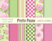 Hot Pink Green Flower Digital Scrapbook Paper Pack BUY 2 GET 1 FREE - Pretty Peony - Instant Download