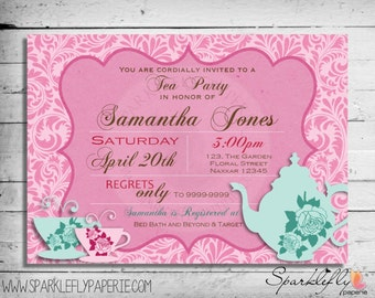 Tea Party Bridal Shower / Baby Shower / Birthday Invitation (Custom DIY Printable)