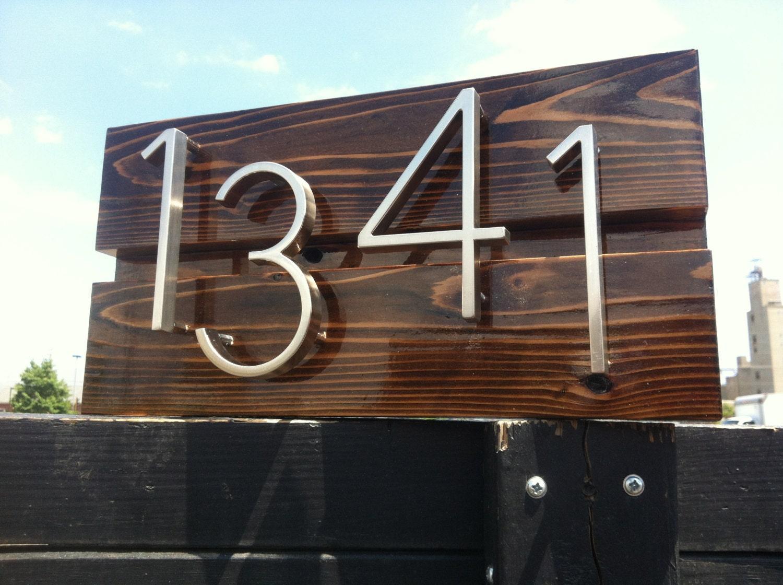 Mid century modern custom address sign by daddyssimplesigns for Mid century modern address numbers