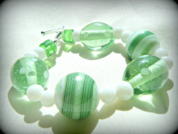 Lampwork Bracelet  Shades of Green