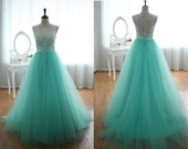 Custom Elegant White Lace High Neck Green Tulle Button A Line Lace Formal Long Evening/Prom/Party/Bridesmaid/Homecoming/Cocktail Dress Gown