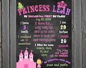 Custom Printable Princess Theme Birthday Poster Board Sign 16x20