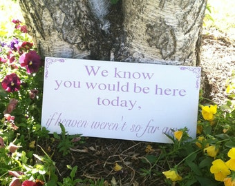 Wedding Signs -- Wedding Signage- In Loving Memory - We Know You Would be Here Today if Heaven Weren't So Far Away -  Custom Wood Signs