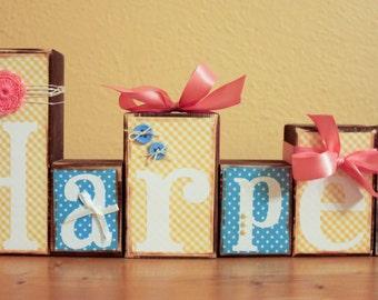 Baby Shower Decor- Personalized Wood Blocks- Baby Shower Blocks- Shabby Chic Letter Blocks- Baby Name Blocks