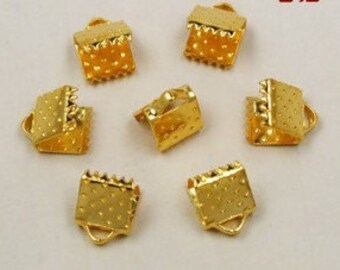 Crimp Bead - 60pcs 6mm Antique gold Leather Fastener Clasp Jewelry Findings