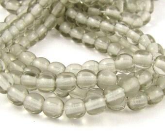Light Gray Transparent 4mm  Round Czech Glass  Beads 100pc #798