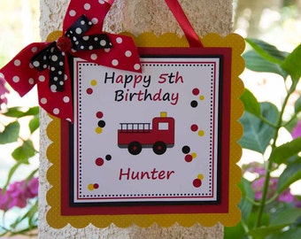 Firetruck Birthday Party Hanging Welcome Sign