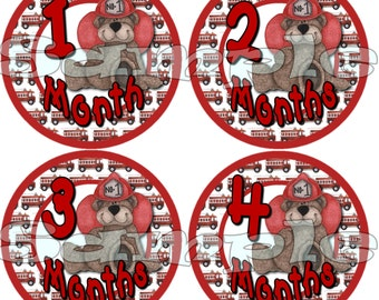 Baby Boy Monthly Stickers Baby Shower gift 1- 12 Month stickers Infant Month stickers Onepiece Age Sticker Milestone Fireman Fire truck bear