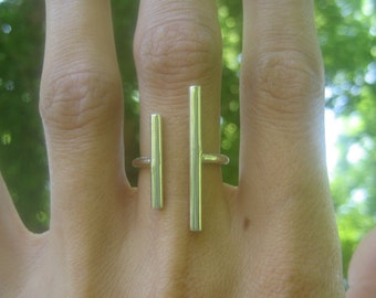 Open, Modern, Minimalist Sterling Silver Ring, Double bar Ring