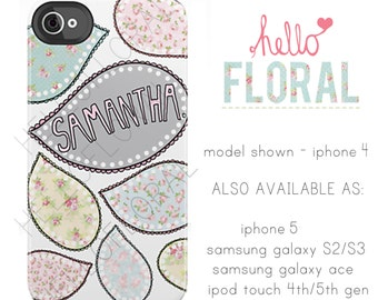 Personalised Name Paisley  iPhone 4/4S 5 5c 5s 6 Samsung Galaxy S2 s3 s4 s5 Ace iPod Touch 4th 5th hard case