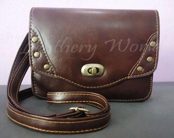 Handmade Brown Leather Messenger, Handbag, Wallet, Sling bag