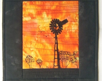 "QUILT- 'The Outback Sunset' - 14"" x 17"" (34cm x 42cm)"