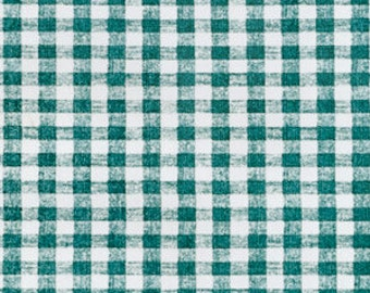 "54"" Green Gingham OilCloth with Flannel Backing- 1 Yard"