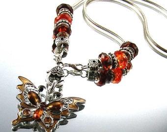 Rhinestone Enamel Butterfly Pendant Necklace w/ European Beads by Kay E1235