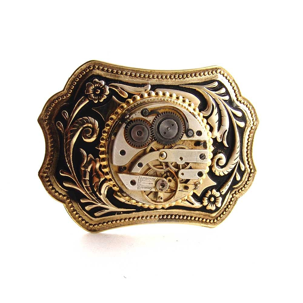 Steampunk mens Belt Buckle Gold Tone Vintage Brass 1880's